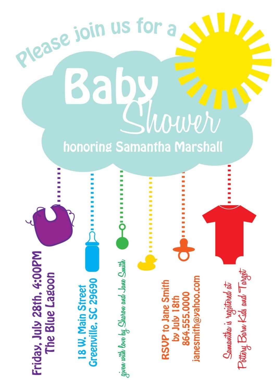 Printable Baby Shower Invitation Rain Cloud By Ohcreativeone
