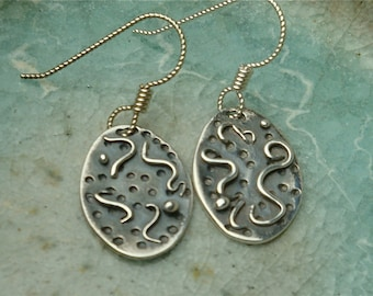 PMC Earrings - Esprit Dangles - Fine Silver - Small Textured Ovals