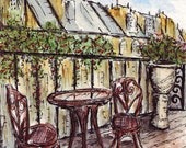 Paris Balcony Original (5x7) Pen, Ink & Watercolor Drawing by Vista Artworks