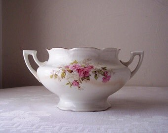 vintage sugar bowl - floral mellor & company vernon - white - pink and green
