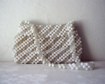 vintage white and clear beaded purse with strap - white beaded bag - evening bag - bead purse