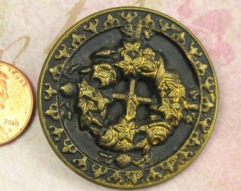Victorian Button Antique 1 3/8 Ornate Filagree Picture Button Brass Metal Button 30