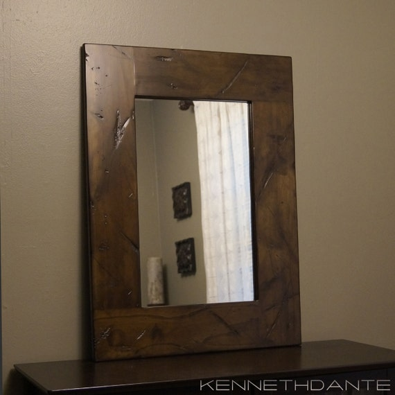 Wood Framed Rustic Mirror Distressed Brown Barnwood