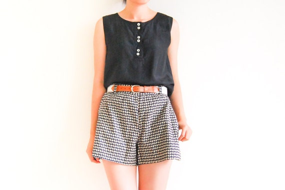 Vintage PREPPY Black SILK Sleeveless Button Up Blouse