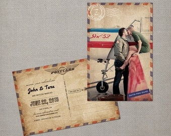 "Save the Date Post Cards, 4x6, Save the Date, Airmail the ""Tara"""