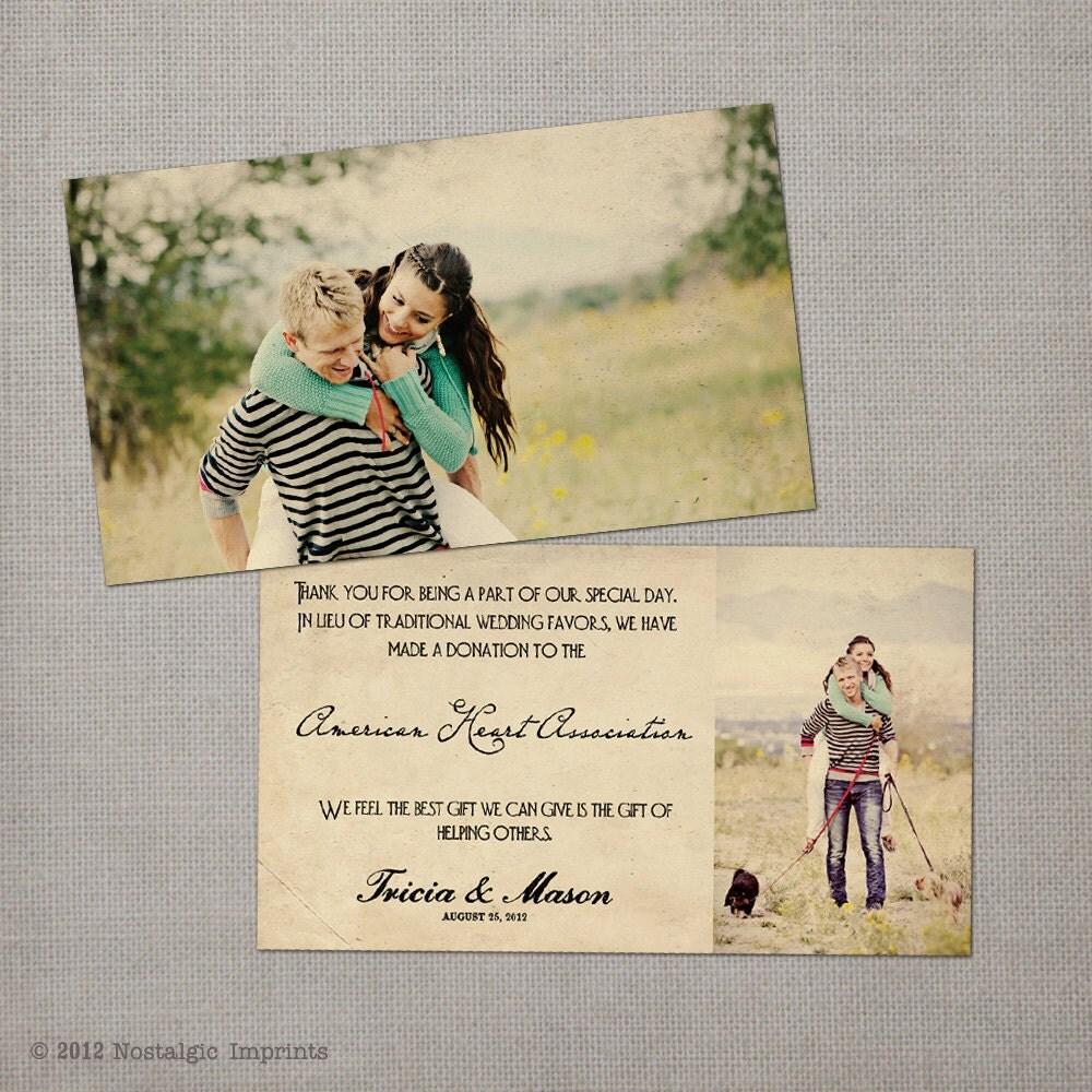 Wedding Favor Donation Cards Multi Size Favor Donation