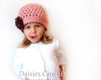 Crochet PATTERN Girl Beanie Hat with Flower. Puffer Hat. Christmas Birthday gift 7 sizes (017)
