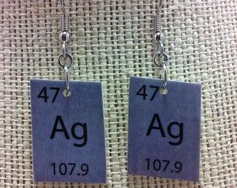Periodic Table Silver Nerd Dangle Earrings, Ag