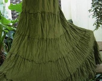 Ariel on Earth - Boho Gypsy Long Tiered Ruffle Cotton Skirt - DARK Olive Green
