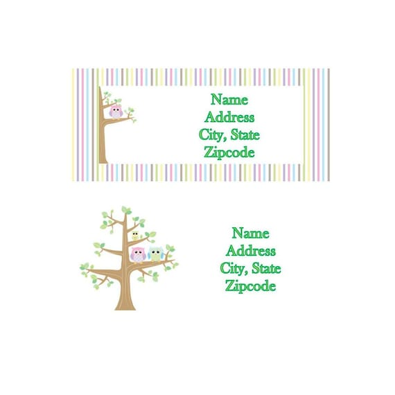Owl Family Tree Return Address Labels MULTIPLE DESIGNS And