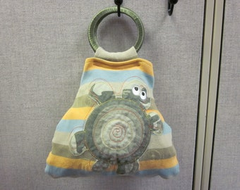 Re-Purposed Upcycled Onezie Purse striped Turtle