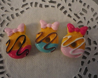 Cute colorful doughnuts cabochons with bow   3 pcs---USA SELLER