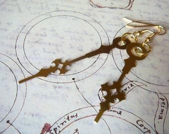 Small Brass Steampunk Cross Clock Hand Earrings