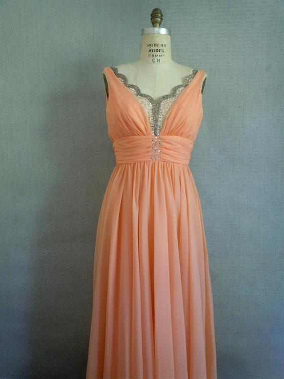 Mike Benet Dress/ Aurora Borealis, Rhinestone, Bridal blush peach/ Long formal gown