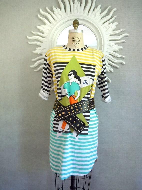 Gucci Tshirt dress/ 1980s Nautical stripes, colorful designer cotton dress