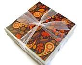 Autumn Splendor Handmade Tile Coasters, Set of 4, Leaves, Paisley, Nature, Brown, Yellow, Fall, Floral Trend, Orange