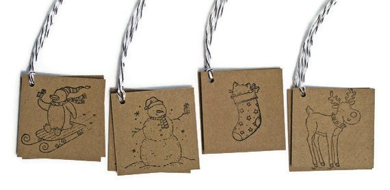 Holiday Critter Gift Tags Set of 8 Handmade Holiday Kitty Reindeer Snowman Penguin Packaging Gift Wrap Scrapbooking Stamped