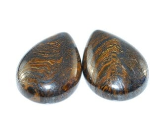 1 Pair AA Tiger Eye Hematite Cabochon K4B4344