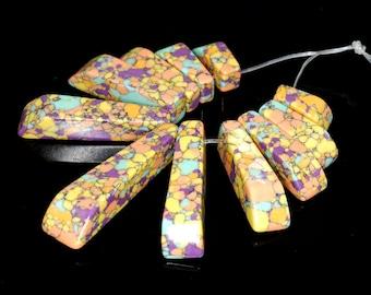 Unique 11 pieces Colorful Matrix pendant bead Set J32B4203