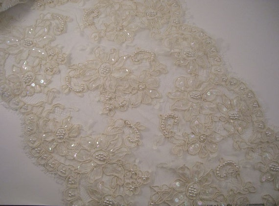 "Ivory Beaded French Alencon Lace Trim 11"" Wide--One Yard"