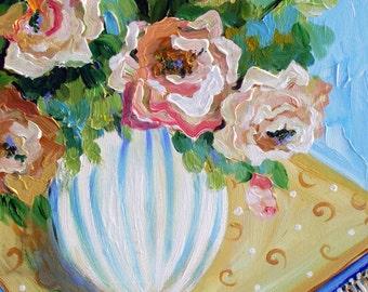 Still life Oil painting canvas art  18 x 24 Original by Elaine Cory