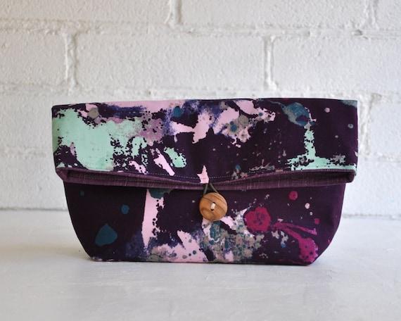 Clutch, Fold Over Clutch, Cosmetic Bag, Medium Size
