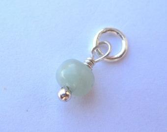 Amazonite  Bead Gemstone Dangle Charm - Opaque Aqua
