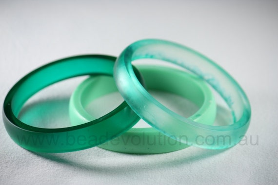 Resin Bangle Bracelets, Stacking Set in Minty Greens