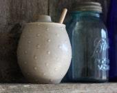 Pottery Honey Pot - Polka Dot Gray Ceramic Pot