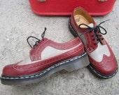 "PRICE DROP  Dr. Martens Burgundy and Grey Wingtip shoes ""Excellent Shape"""