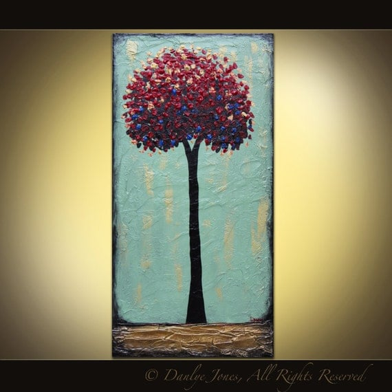 Red Tree original acrylic painting on canvas 18 x 36