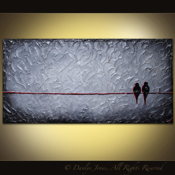 Bird painting LARGE original acrylic on canvas grey red birds on a wire 48 x 24