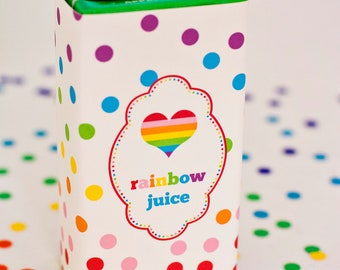 Rainbow Party Juice Box Wraps/Labels- Printable