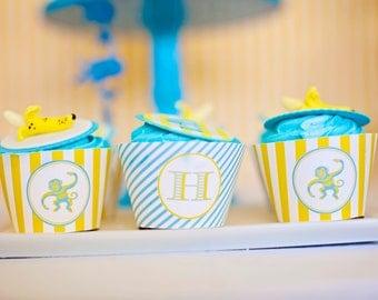 DIY Printable Cupcake Wrappers - Blue Monkey Party