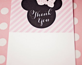 Minnie Mouse Party Thank You Cards - Printable