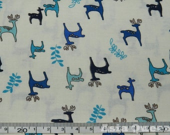 "USD7 - Cotton fabric - Christmas deer- beige - 1 yard - animal fabric, Check out with code ""5YEAR"" to get 20% off"