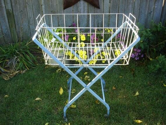 Vintage Blue Metal Rolling Laundry Cart Basket
