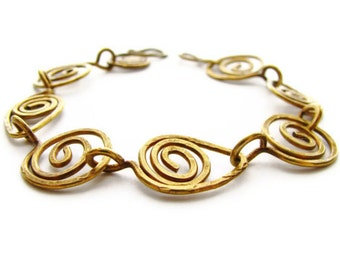 Primitive Leaf and Coil Bracelet Abstract Hammered Brass Bohemian Nature Jewelry