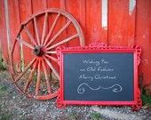 R E D .. Framed Chalkboard Antique Carved Wood Design Menu Sign
