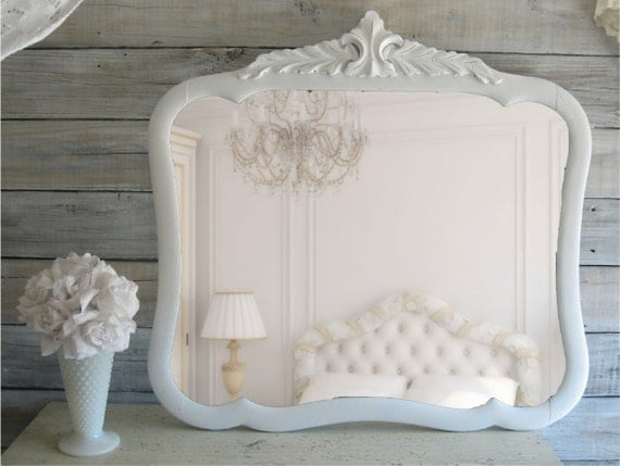 Vintage Shabby Chic Mirror, Cottage Chic, French Country, Wooden Mirror