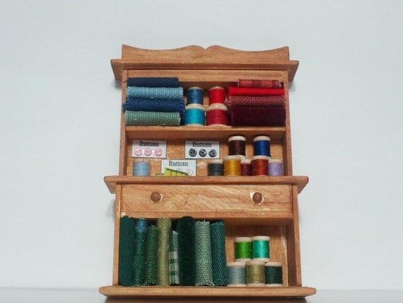 Dollhouse Miniature Sewing Supply Cabinet Hutch 6
