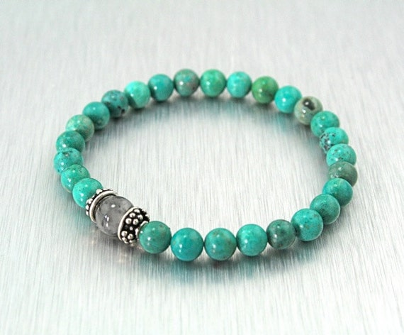 Turquoise 27 Bead Bracelet, Wrist Mala with Tourmaline Quartz and Sterling SIlver