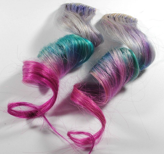 Galaxy Quest / Human Hair Extension / Purple Pink Turquoise Blue / Long Tie Dye Colored Hair