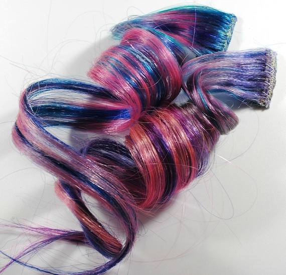 Enchanted Kingdom / Human Hair Extension Set / Purple Pink Blue / Long Tie Dye Colored Hair