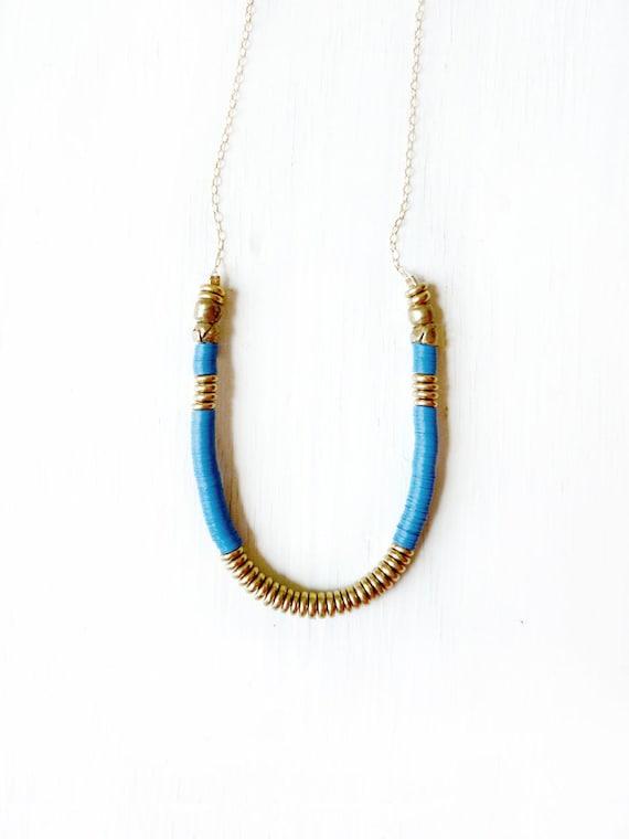 Navy brass necklace