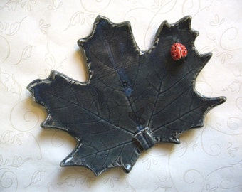 Midnight Blue Pottery Maple Leaf Spoon Rest