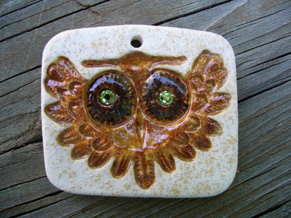Brown Owl With Green Eyes Ceramic Pendant