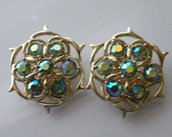 "On Sale Sarah Coventry "" Lime Light "" clip on earrings. Gold tone metal, lime green aurora borealis rhinestones."