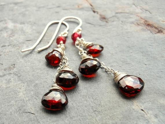 Cascade Garnet Earrings Sterling Silver Crimson Red Heart Gemstones by Aerides Designs