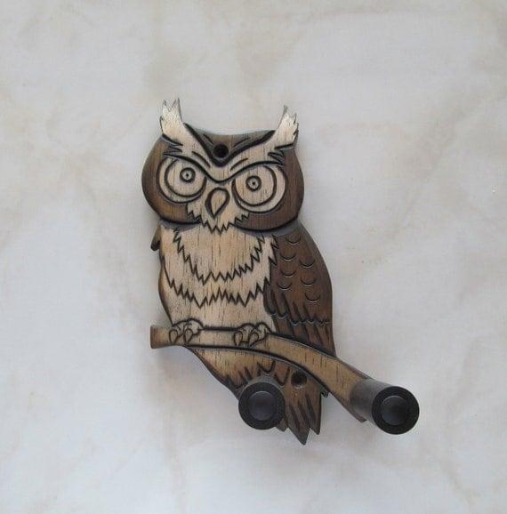 Unique ukulele wall mount hanger, hand carved owl, dark brown
